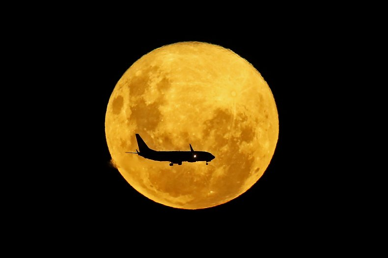supermoon, plane