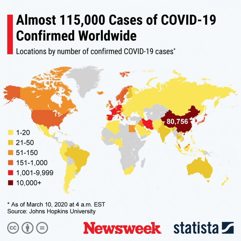 Statista World Map Coronavirus March 10, 2020