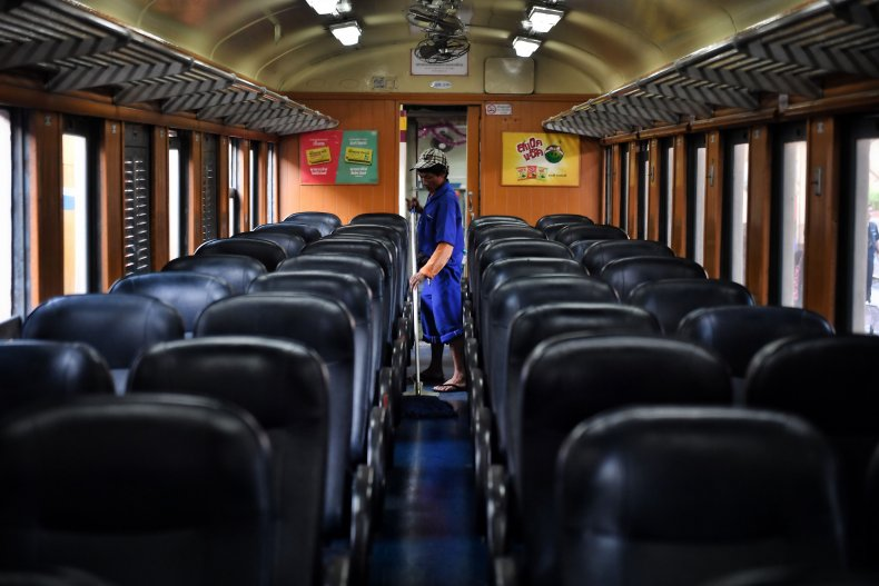 Train cleaner in Bangkok Thailand March 2020