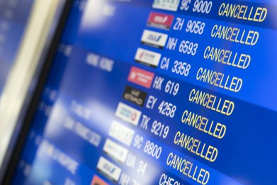 Cancelled flights in Osaka, Japan, March 2020