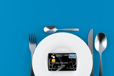 credit card on plate