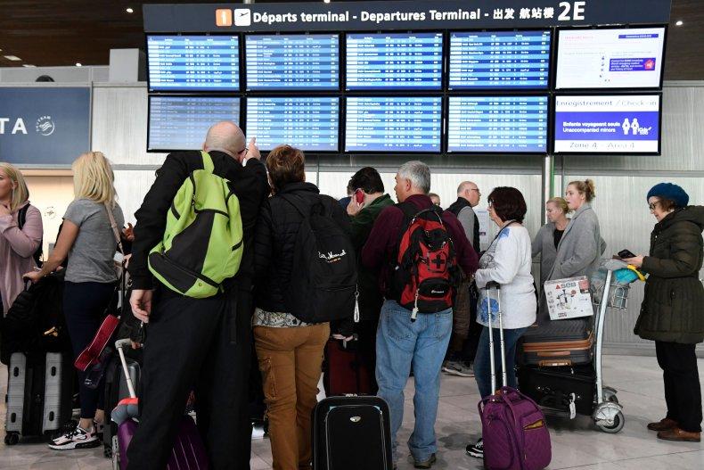 Travellers at Paris airport