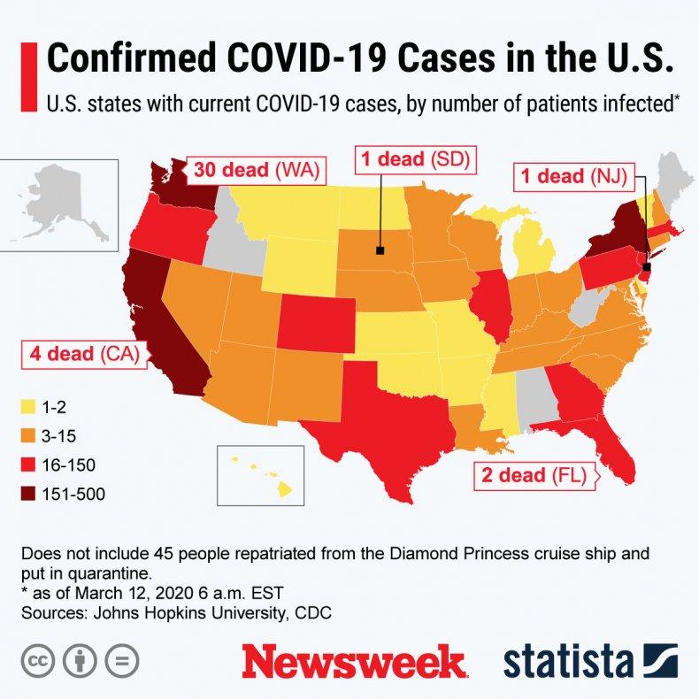 Statista Map Coronavirus March 12, 2020