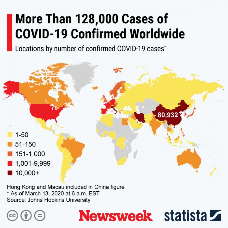 Statista map of COVID-19 March 13, 2020