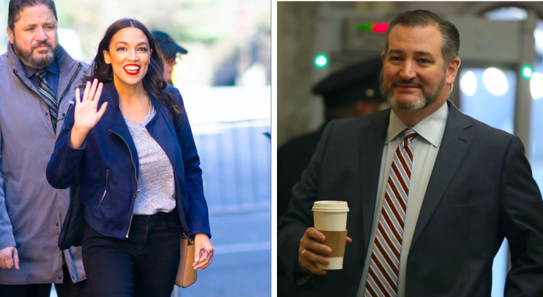 Alexandria Ocasio-Cortez and Ted Cruz