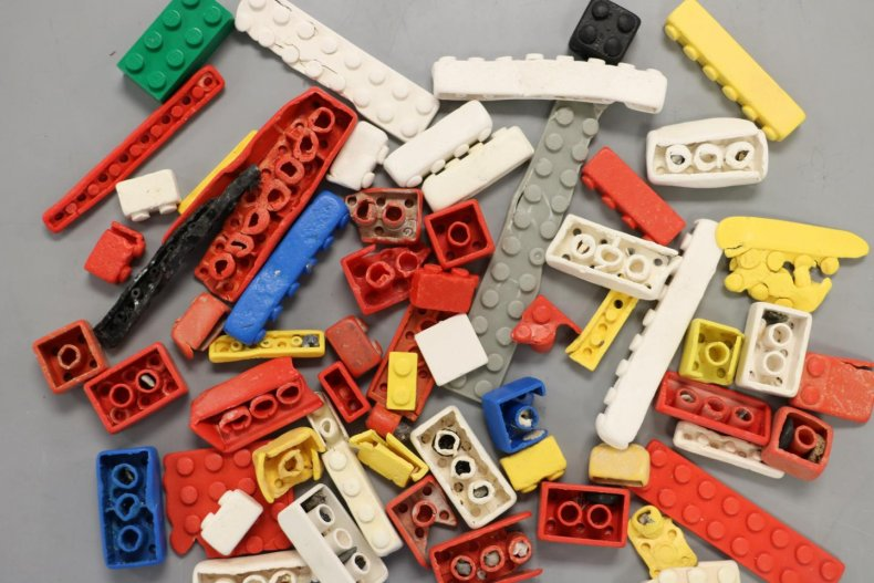 Weathered and unweathered LEGO bricks