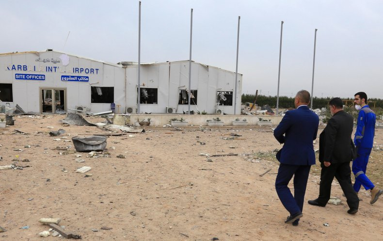 iraq, karbala, airport, us, airstrikes