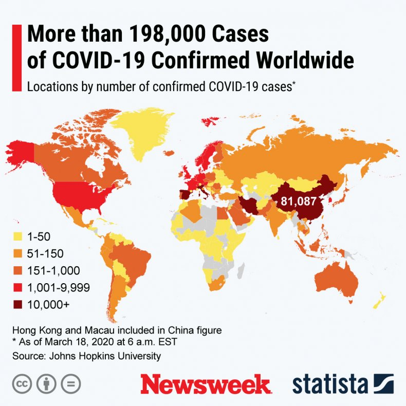 Statista Coronavirus World Map March 18, 2020