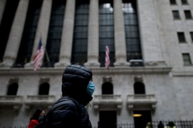 Woman with Face Mask Stock Exchange