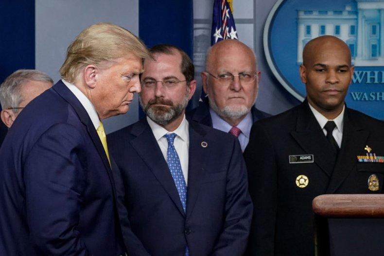 Donald Trump, Alex Azar and Robert Redfield