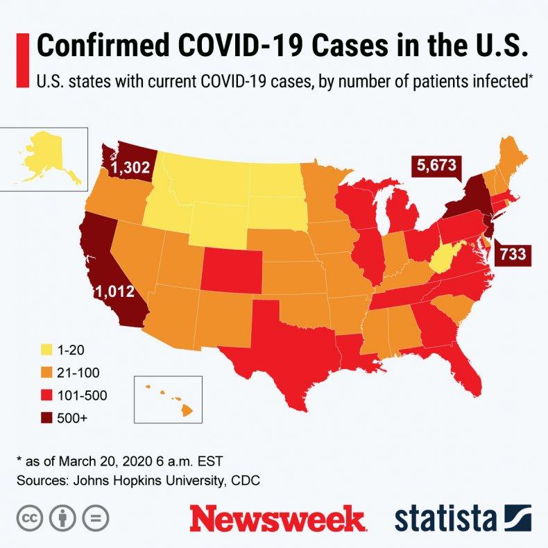 Map of U.S. coronavirus cases, March 20