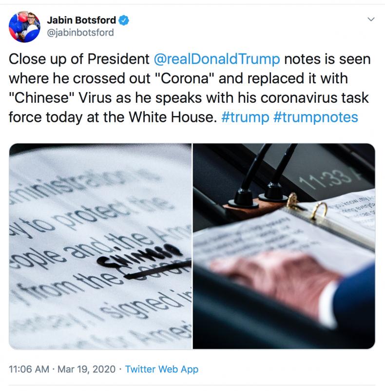 Donald Trump Chinese Coronavirus