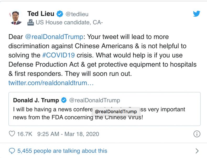 Asian Americans Donald Trump Chinese Coronavirus