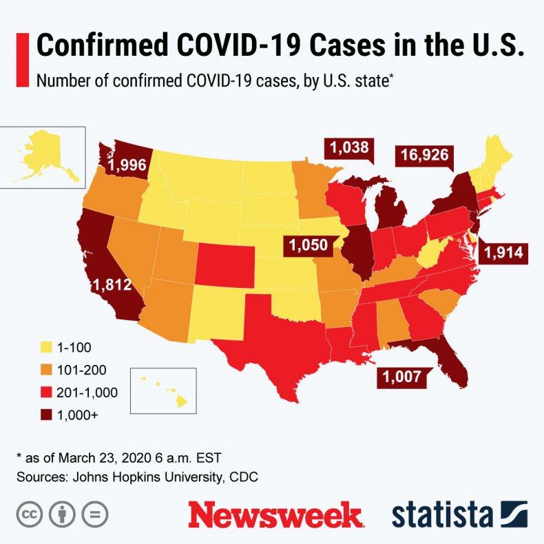Statista, coronavirus, US, states, March, 23