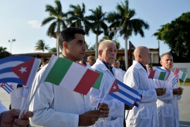 cuba, medical, brigade, italy, flags, coronavirus