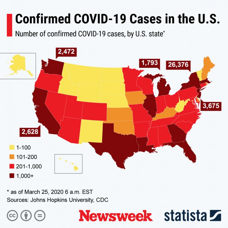 This infographic shows the number of confirmed COVID-19 cases by state.
