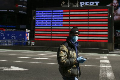 Man virus, mask, NYC, March 2020