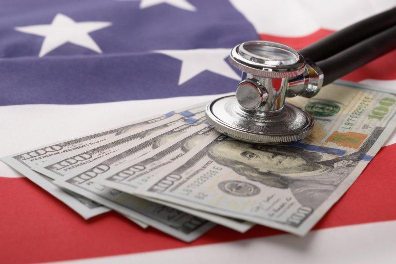 Money flag and stethoscope