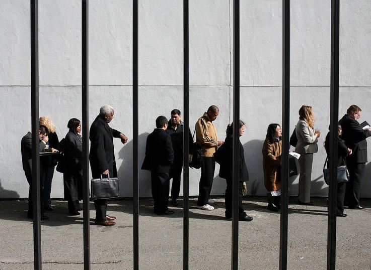 Job Seekers Outside Career Fair Amid Recession