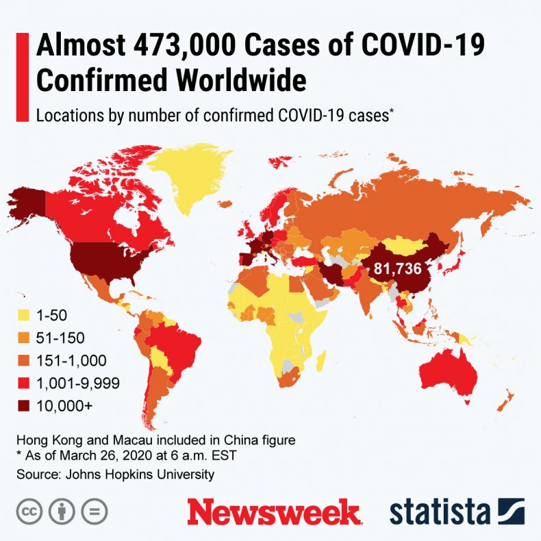 A graphic provided by Statista shows the global spread of the new coronavirus