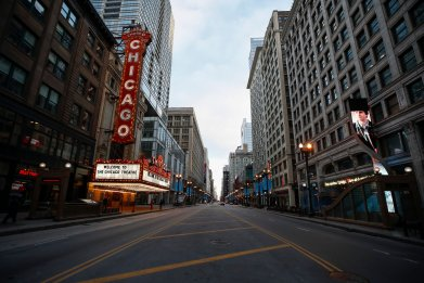 Closed Chicago Theatre is seen in Chicago, Illinois, on March 21, 2020.