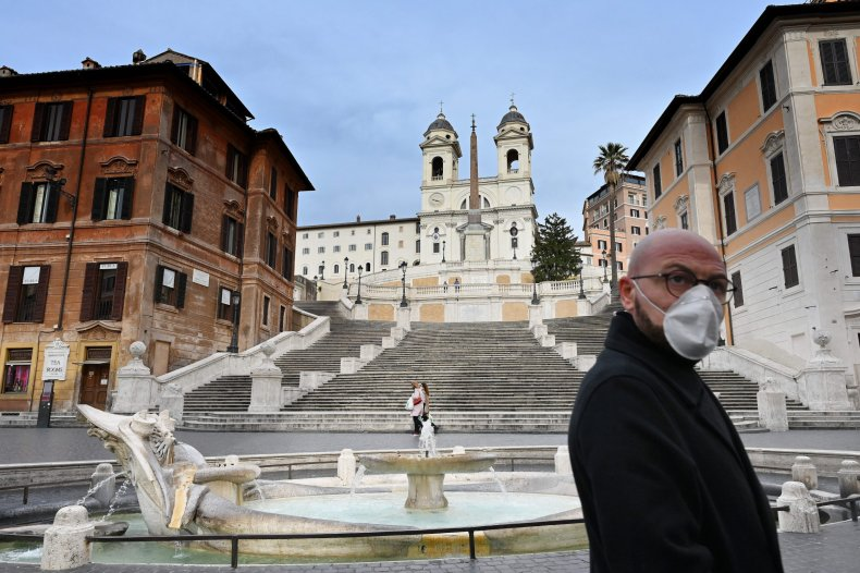 Virus mask,Spanish Steps, Rome, Italy, March 2020