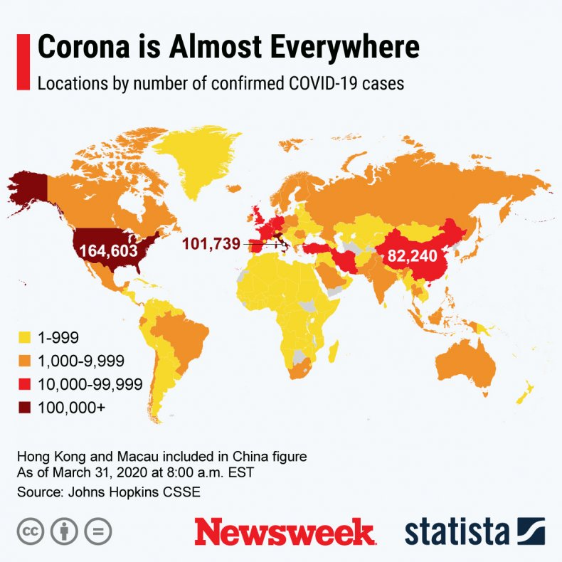 Number of worldwide coronavirus cases March 31