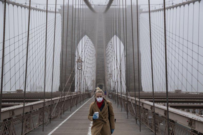 Brooklyn bridge, coronavirus mask, resident, March 2020