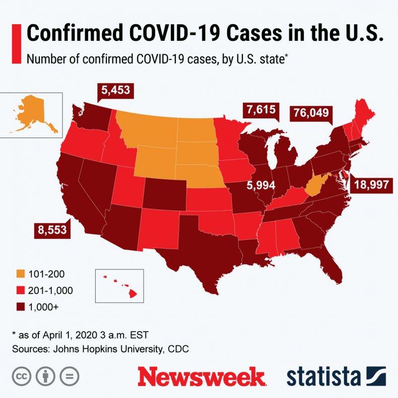 Confirmed coronavirus cases in US
