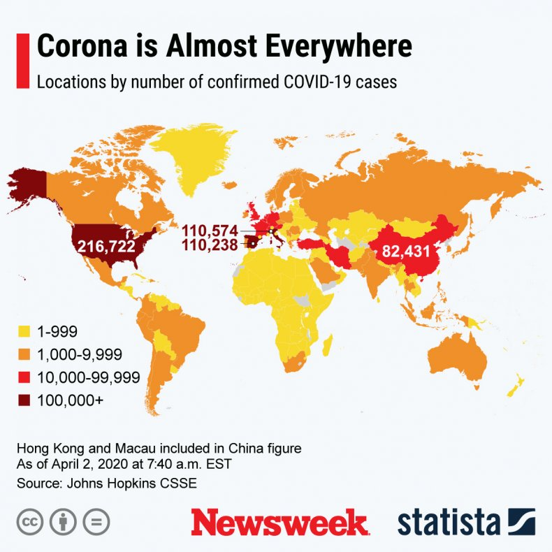 The graph shows the number of coronavirus cases confirmed worldwide.