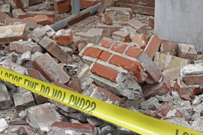Building damaged by earthquake on March 18, 2020 in Magna, Utah
