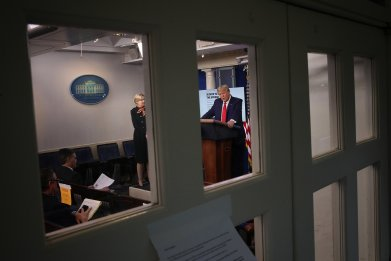GOP group targets Trump amid falling polls