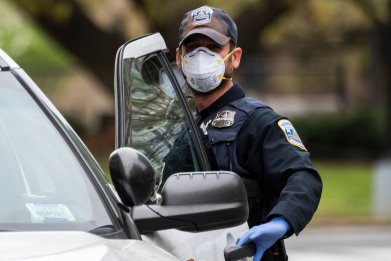 Coronavirus, police, mask, fake, impersonator, stop, fraud