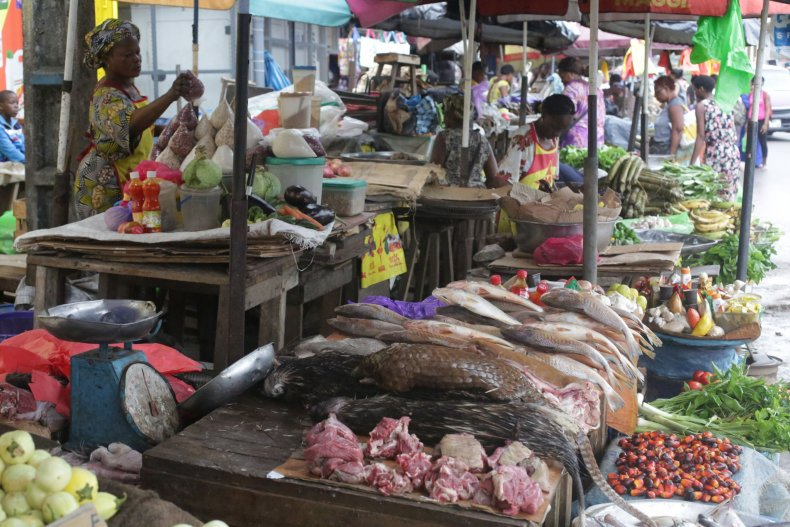 market where pangolin and other bushmeat are sold