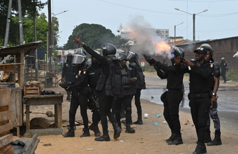 coronavirus, ivory coast, police, tear gas, riot