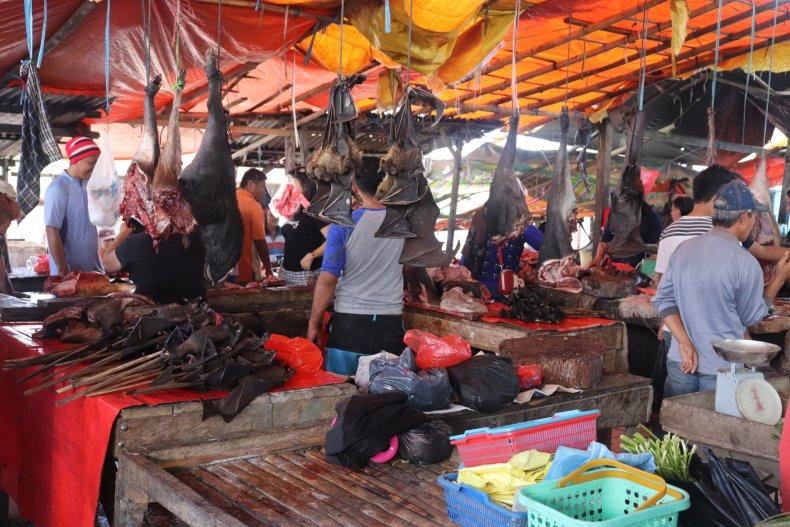 Indonesian market, dead bats