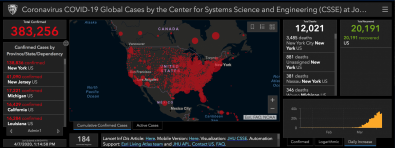 Johns Hopkins University Coronavirus Map