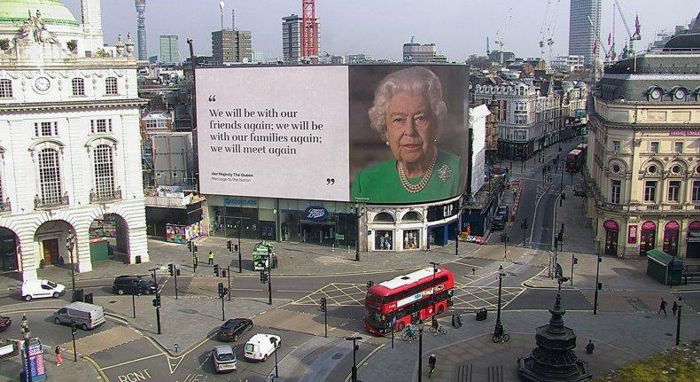 Queen Elizabeth II's Coronavirus Message, Piccadilly Circus