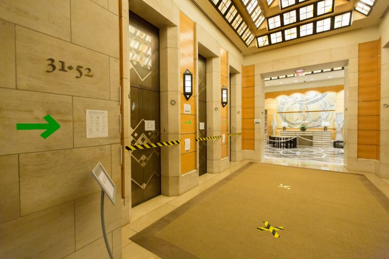 Elevator bank at Four Seasons Hotel