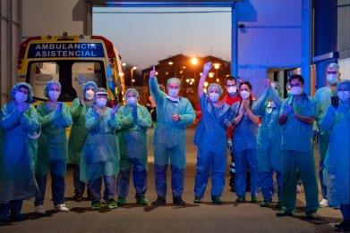Health workers, coronavirus, Burgos, Spain, March 2020