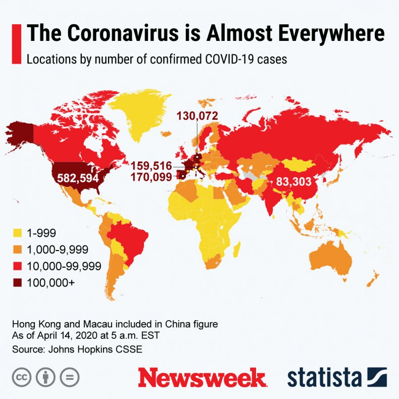 global COVID-19 virus cases, April 14, 2020