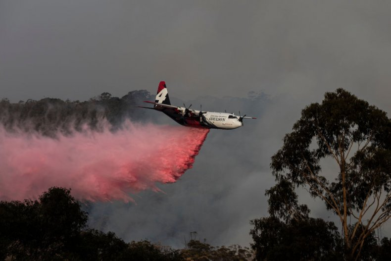 Large Air Tanker Fights Australian Wildfires