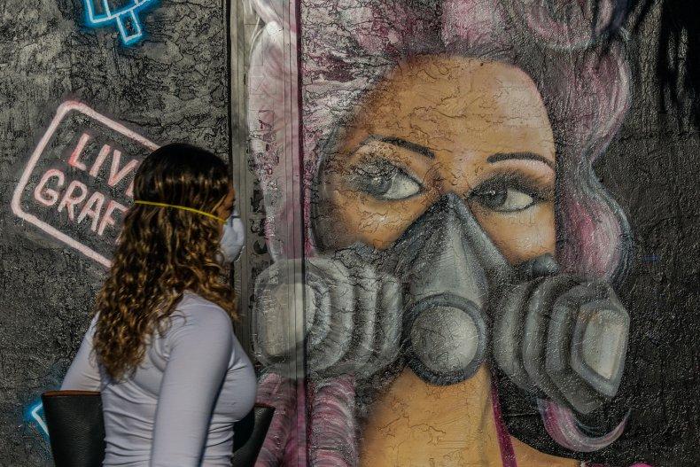 Miami, coronavirus mask, mural, Floria, April 2020