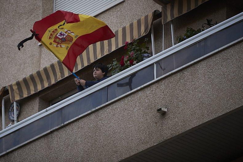 Seville, Spain, boy, coronavirus, lockdown, April 2020