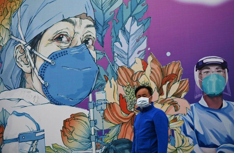 Coronavirus, mural, Wuhan, China, April 2020