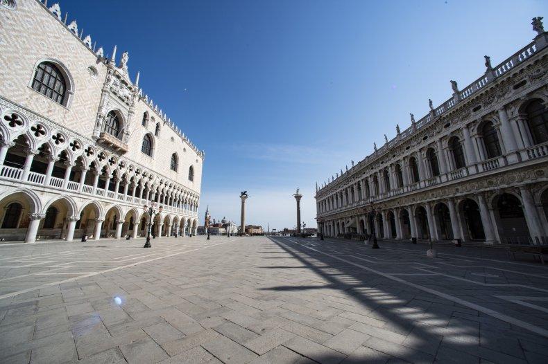 Piazza San Marco, Venice, Italy, coronavirus, April