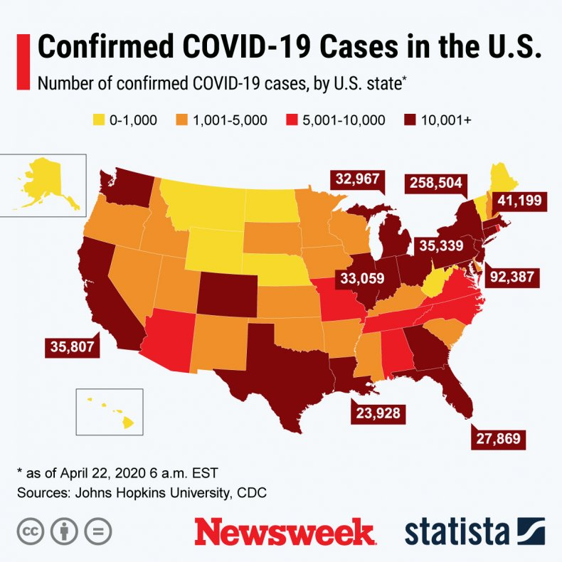This infographic shows the number of confirmed COVID-19 cases around the U.S.