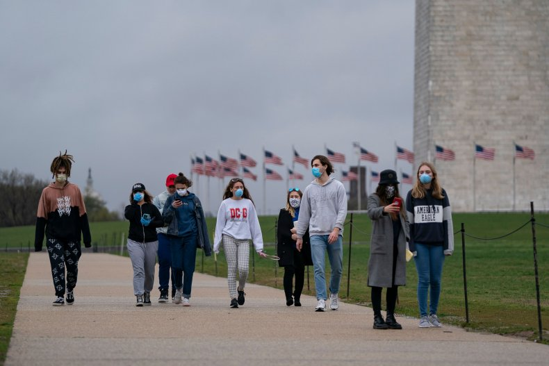 Young People Wear Masks in Washington, D.C.