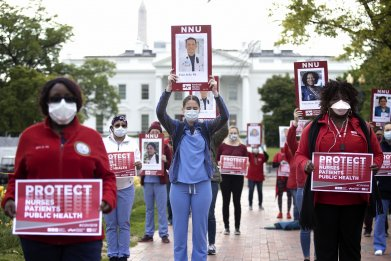 National Nurses United, coronavirus protest, April 2020
