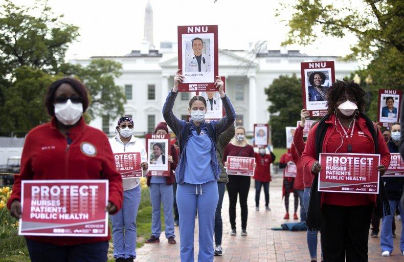 National Nurses United, coronavirus protest, April 2020